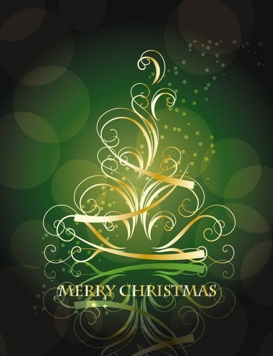 Golden-Swirling-Christmas-Tree-with-Blackish-Green-Background